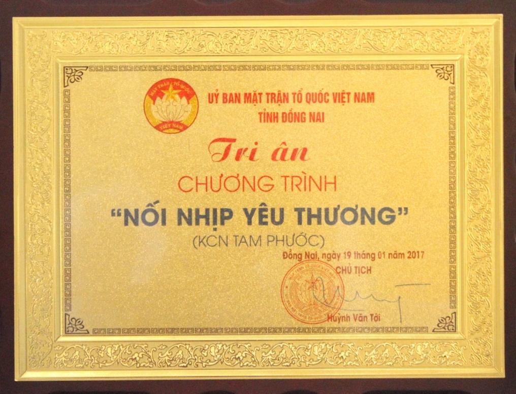 """Công ty CPPT KCN Tín Nghĩa được trao tặng biểu dương điển hình """"Vì người nghèo"""""""